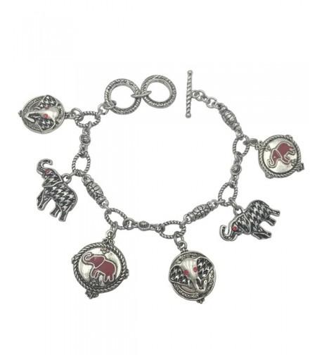 Houndstooth Elephant Bracelet Alabama Silver