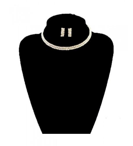 Elastic Rhinestone Necklace Earrings Gold Tone