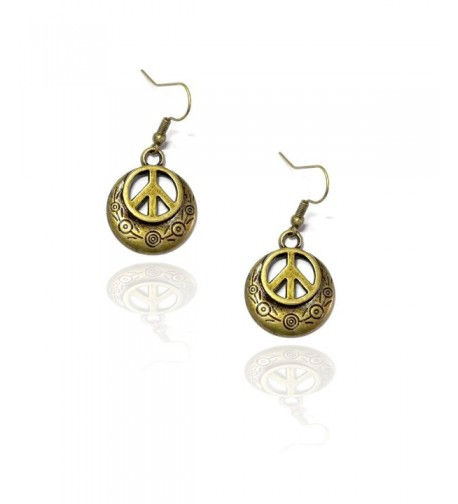 Engraved Antiqued Gold Peace Earrings