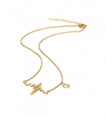 Plated Heart Pulse Necklace Women