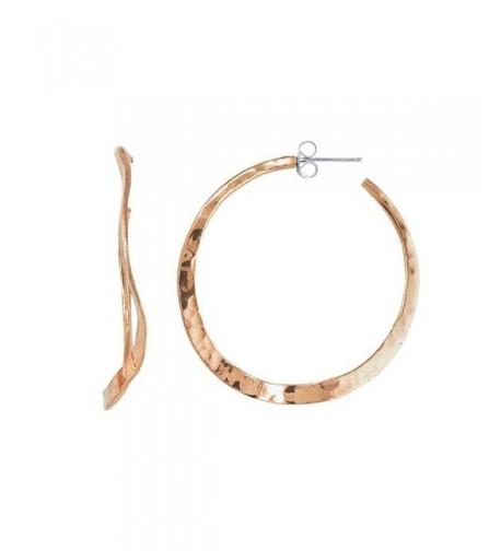 Copper Wavy Hammered Hoop Earrings