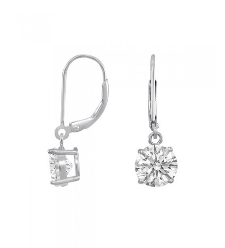 Rhodium Sterling Brilliant Leverback Earrings