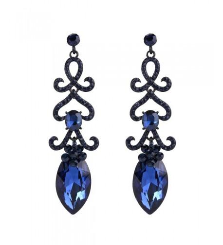 BriLove Chandelier Earrings Sapphire Black Silver Tone