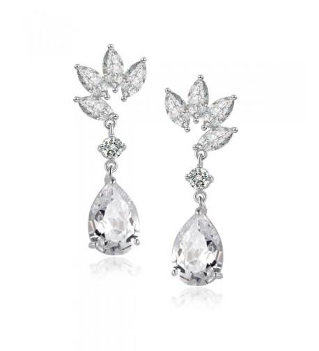 Teardrop Earrings Bridal Wedding Zirconia