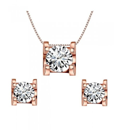 EleQueen Sterling Solitaire Necklace Earrings