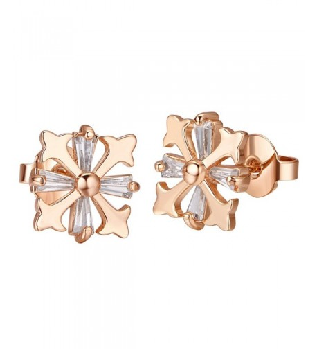 Plazar Stianless Zirconia Engraved Earrings