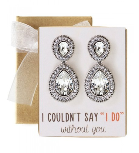 Wedding Bridesmaids Crystal Earrings Silver