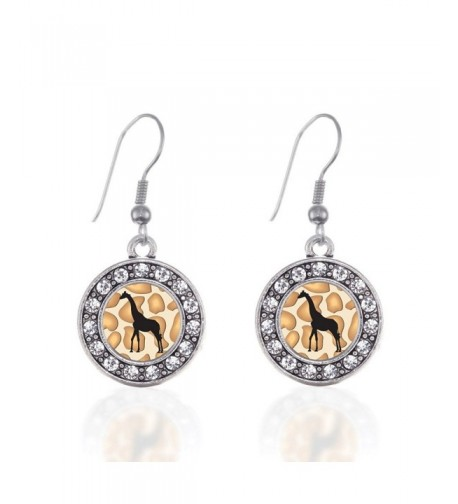 Giraffe Silhouette Earrings Crystal Rhinestones