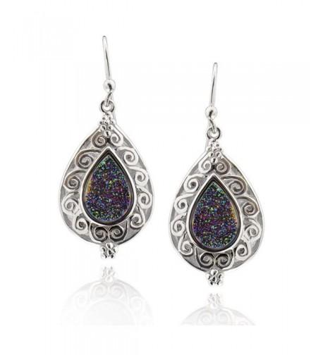 Sterling Silver Pear Druzy Earrings