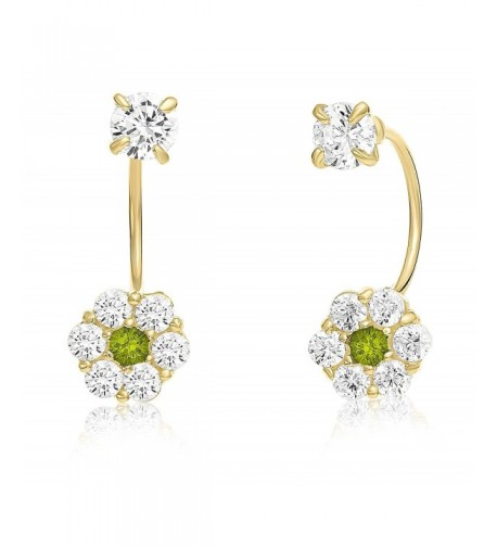 Solitaire Front back Earrings Simulated Birthstone