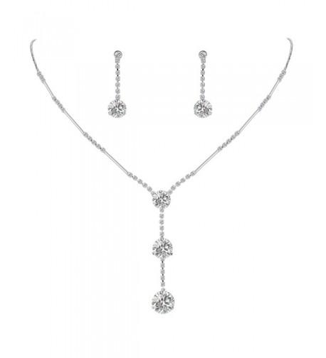 EleQueen Zirconia Y Necklace Earrings Silver tone