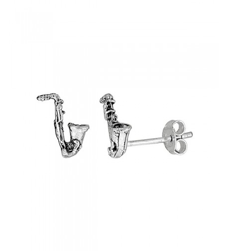 Tiny Sterling Silver Saxophone Earrings