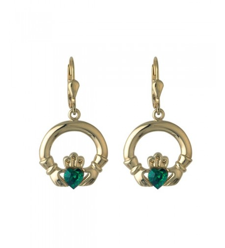 Claddagh Earrings Plated Synthetic Emerald