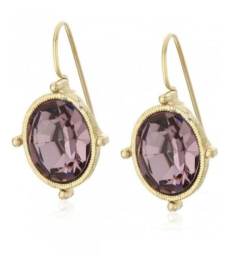 1928 Jewelry Gold Tone Purple Earrings