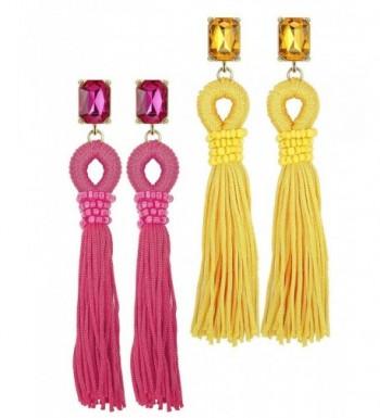 Jstyle Dangle Earrings Tassel Zirconia
