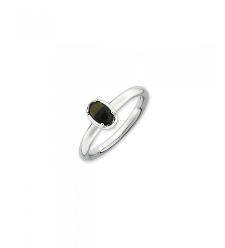 Sterling Silver Stackable Black Cabochon