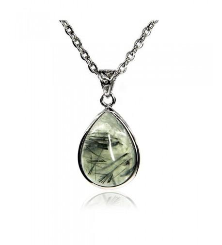 Natural Gemstone Prehnite Pendant Necklaces