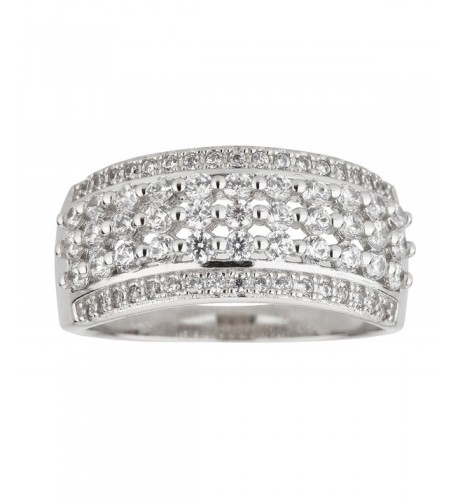 Sterling Rhodium Lattice Zirconia Fashion