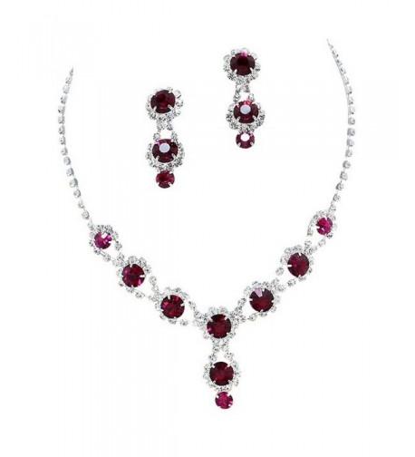 Stunning Raspberry Necklace Rhinestone Bling