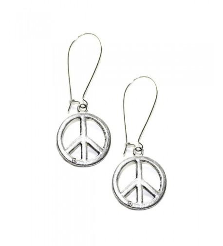 Silver Peace Sign Kidney wire Earrings