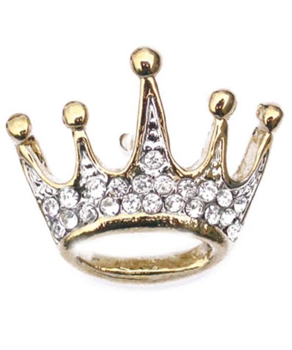 PinMarts Plated Rhinestone Crown Brooch