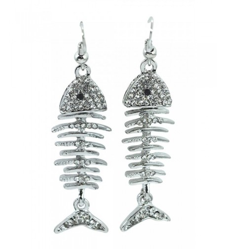 Gothic Steampunk Fishbone Skeleton Earrings
