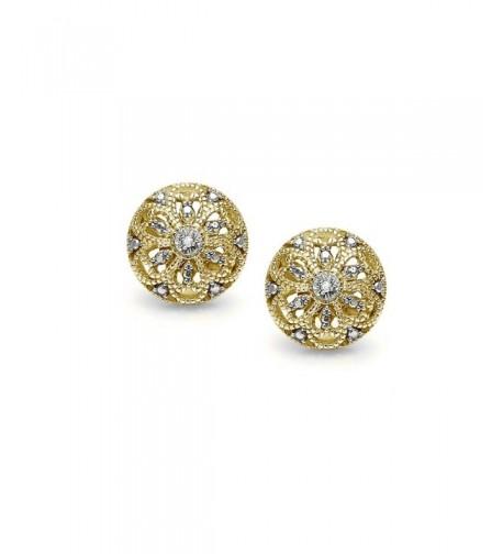 Flashed Sterling Filigree Diamond Earrings