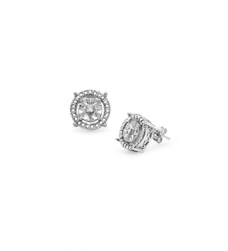 Sterling Silver Diamond Illusion Earrings