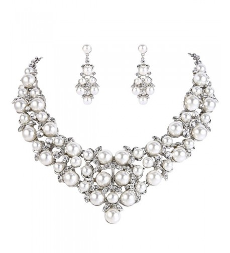 BriLove Simulated Statement Necklace Silver Tone