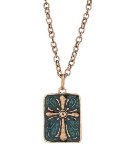 Ganz Antiqued Copper Tone Enamel Necklace