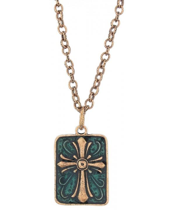 Ganz Antiqued Copper Tone Enamel Necklace