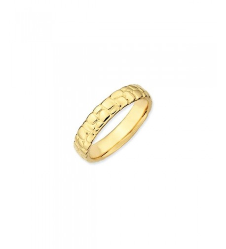 Stackable Yellow Plated Silver Cobblestone