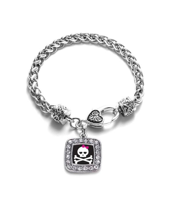 Crossbones Classic Silver Crystal Bracelet