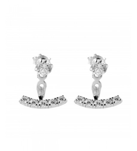 Sterling Silver Zirconia Jacket Earrings