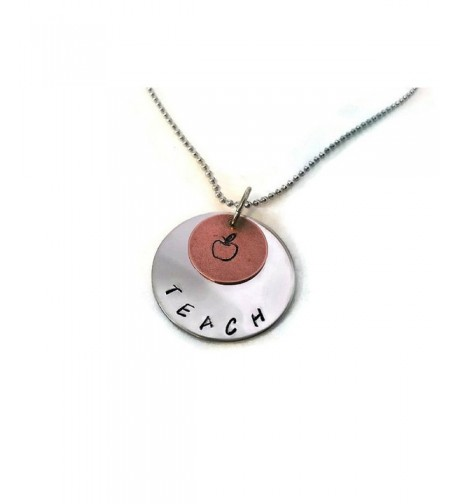 Teachers Necklace Hand Stamped Gift