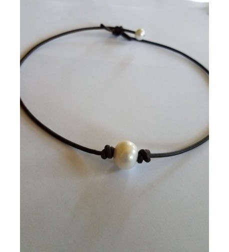 Seasidepearls30A Genuine Leather Necklace Choker