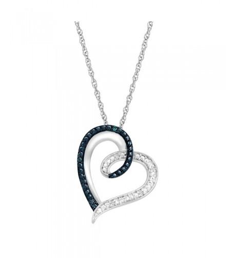 Pendant Necklace Diamonds Sterling Silver