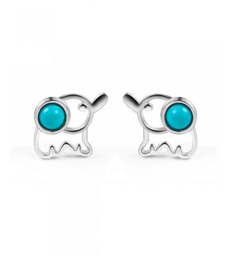 FarryDream Sterling Turquoise Elephant Earrings