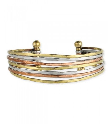 Hammered Fashion Bracelet Goldtone Silvertone