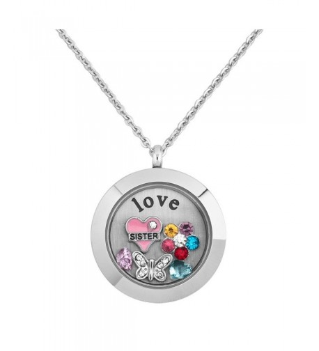 Locket Butterfly Crystal Floating Necklace