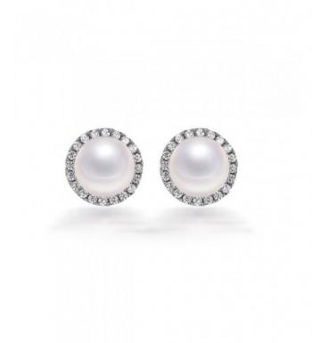 Freshwater Button Earrings Sterling Silver