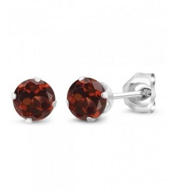 Round Garnet Sterling Silver Earrings