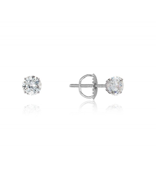 Sterling Rhodium Zirconia Screwback Earrings