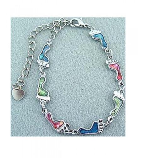 Bracelet Footprint Genuine Multi color Silvertone