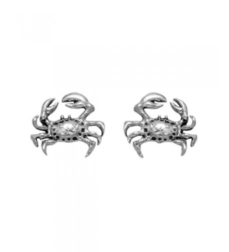 Small Sterling Silver Crab Earrings