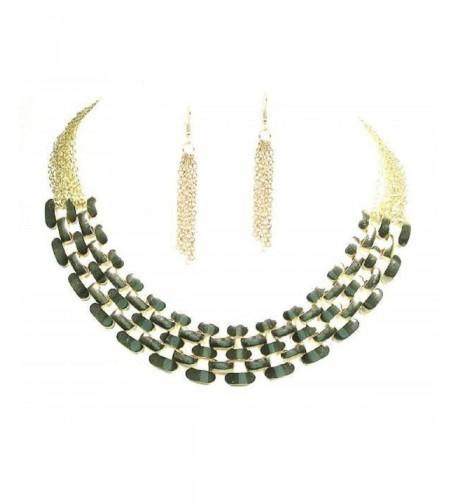 Fashion Costume Goldtone Statement Necklace