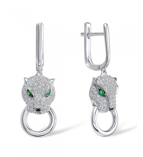 Silver Leopard Earrings Sterling Zirconia