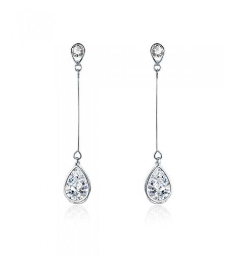 SBLING Platinum Plated Zirconia Earrings Teardrop