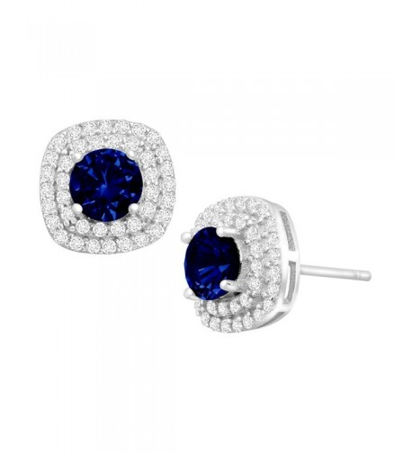 Created Sapphire Zirconia Earrings Sterling