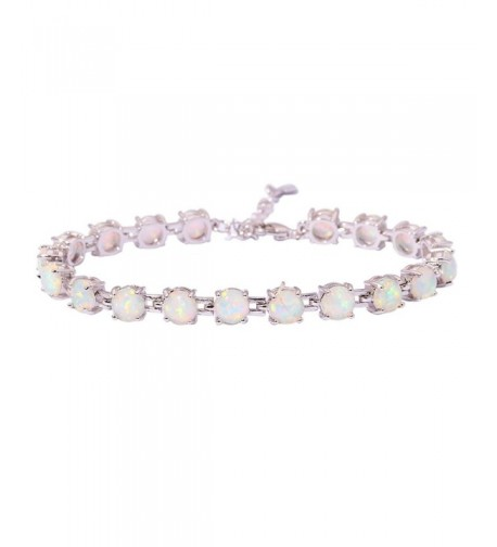 CiNily Rhodium Created Gemstone Bracelet